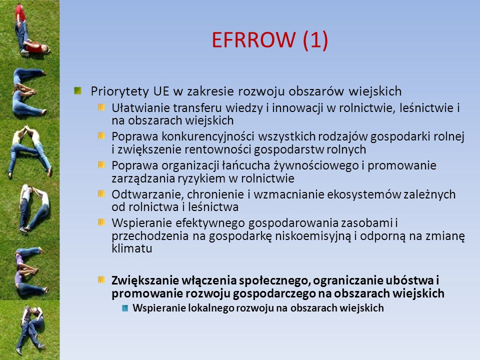 EFRROW (1) Priorytety UE w zakresie rozwoju obszarów wiejskich