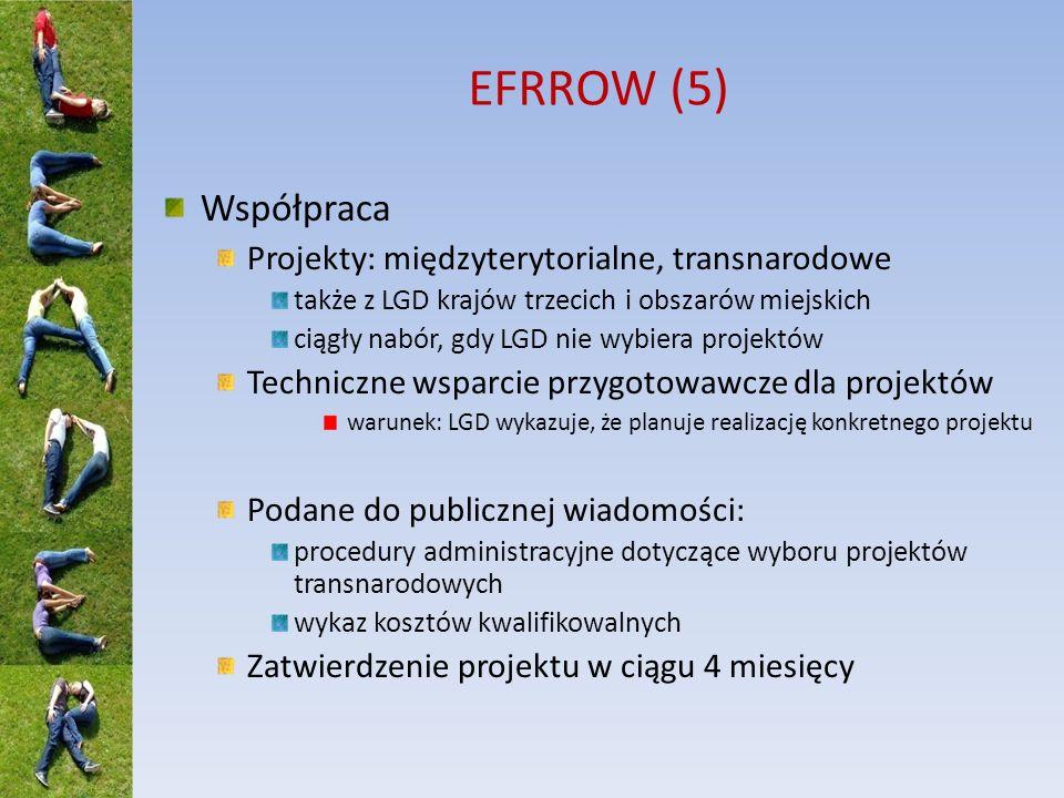 EFRROW (5) Współpraca Projekty: międzyterytorialne, transnarodowe