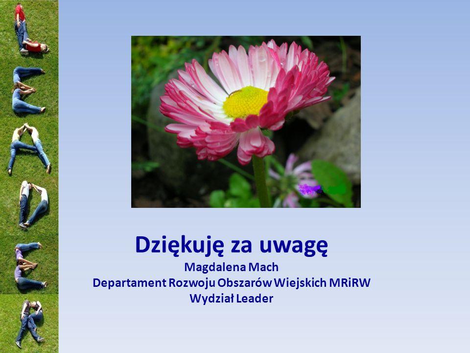 Dziękuję za uwagę Magdalena Mach Departament Rozwoju Obszarów Wiejskich MRiRW Wydział Leader
