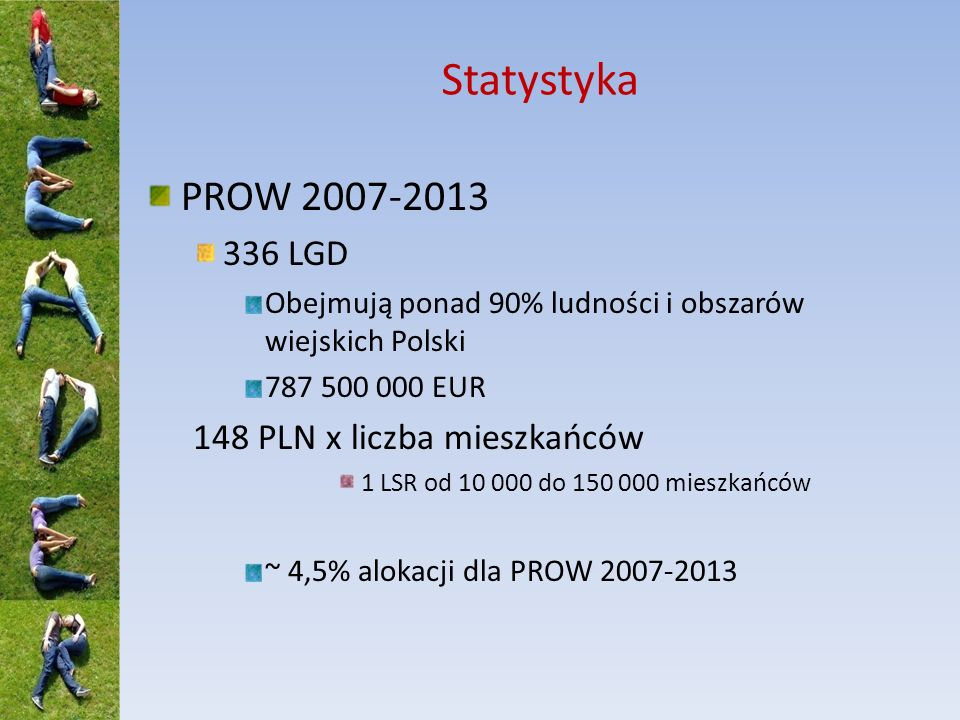 Statystyka PROW 2007-2013 336 LGD 148 PLN x liczba mieszkańców