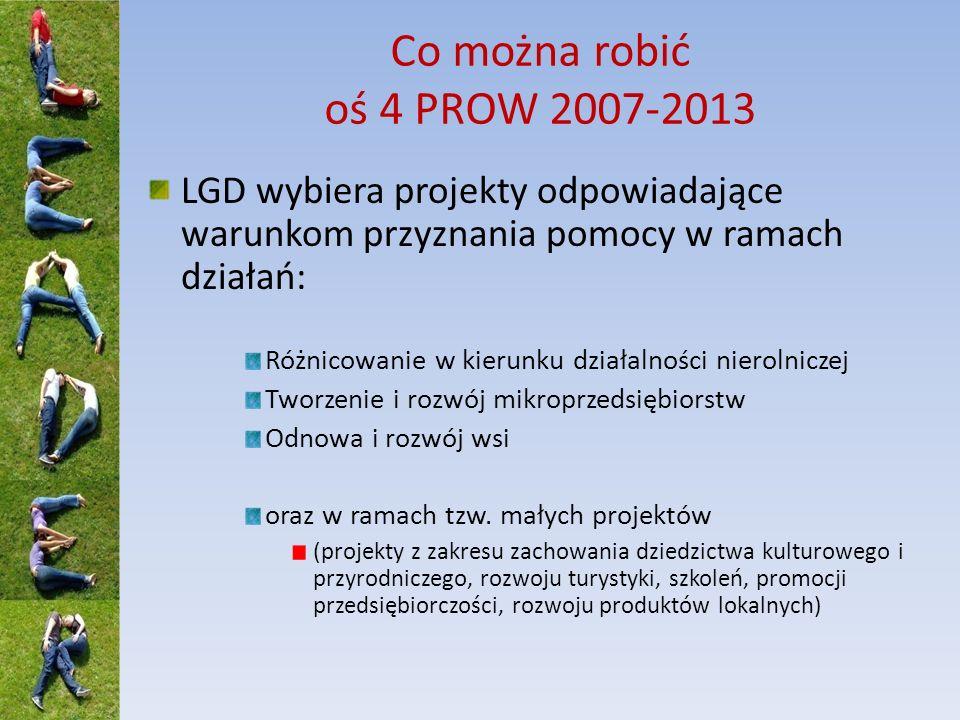 Co można robić oś 4 PROW 2007-2013 LGD wybiera projekty odpowiadające warunkom przyznania pomocy w ramach działań: