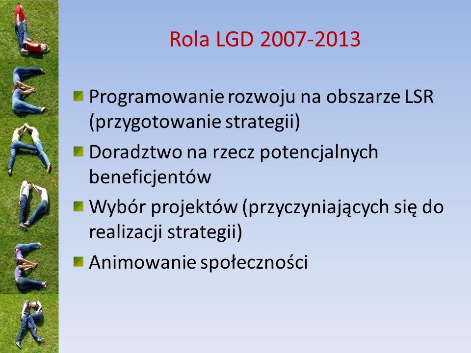 Rola LGD 2007-2013 Programowanie rozwoju na obszarze LSR (przygotowanie strategii) Doradztwo na rzecz potencjalnych beneficjentów.