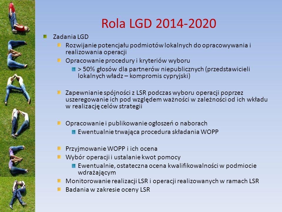 Rola LGD 2014-2020 Zadania LGD. Rozwijanie potencjału podmiotów lokalnych do opracowywania i realizowania operacji.