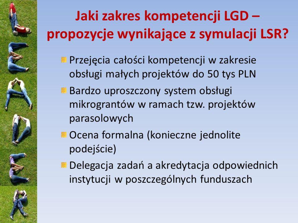 Jaki zakres kompetencji LGD – propozycje wynikające z symulacji LSR