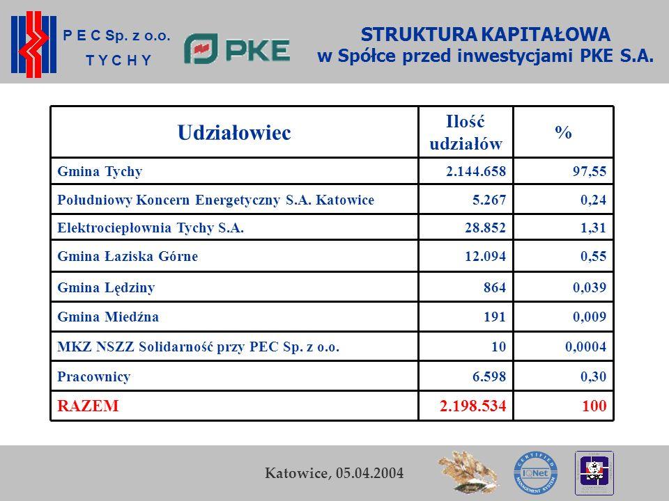 STRUKTURA KAPITAŁOWA w Spółce przed inwestycjami PKE S.A.