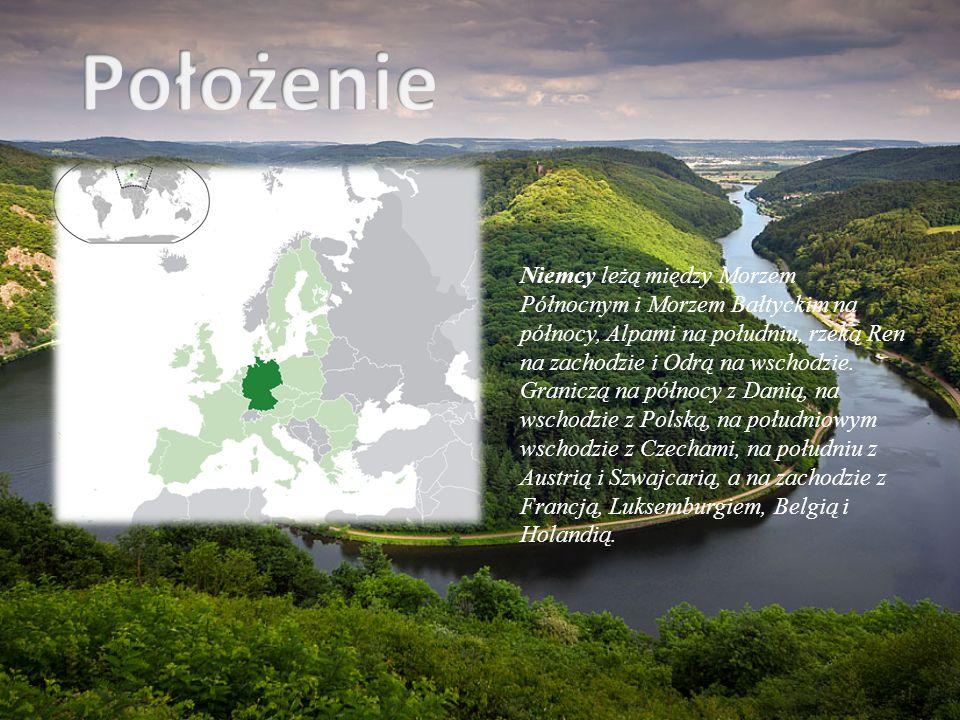 Położenie Niemcy leżą między Morzem Północnym i Morzem Bałtyckim na północy, Alpami na południu, rzeką Ren na zachodzie i Odrą na wschodzie.
