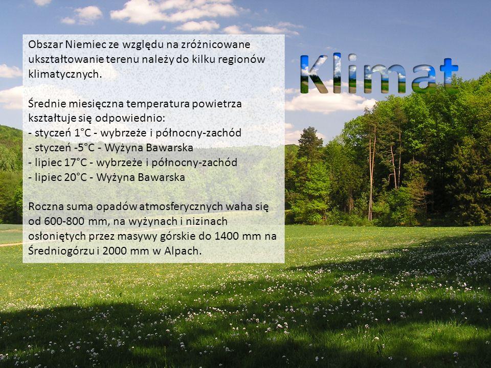 Obszar Niemiec ze względu na zróżnicowane ukształtowanie terenu należy do kilku regionów klimatycznych. Średnie miesięczna temperatura powietrza kształtuje się odpowiednio: - styczeń 1°C - wybrzeże i północny-zachód