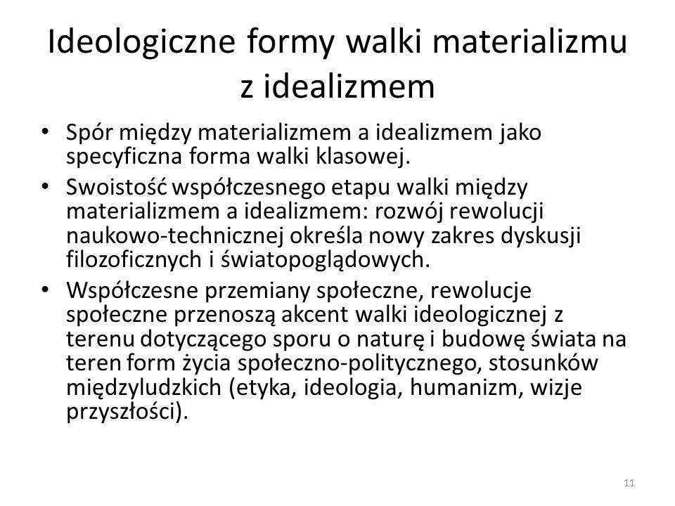 Ideologiczne formy walki materializmu z idealizmem