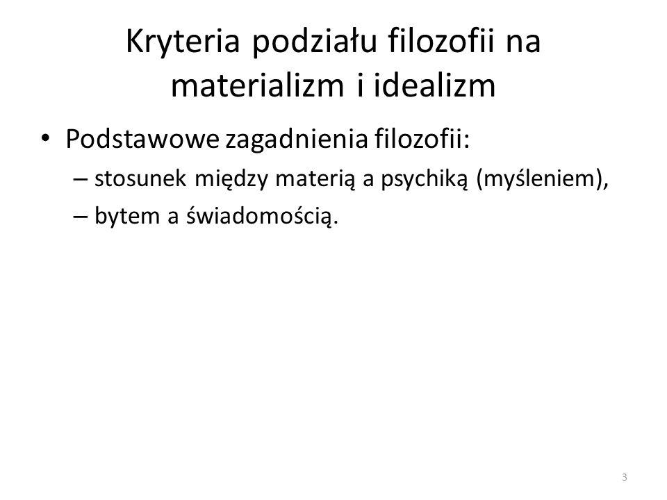 Kryteria podziału filozofii na materializm i idealizm