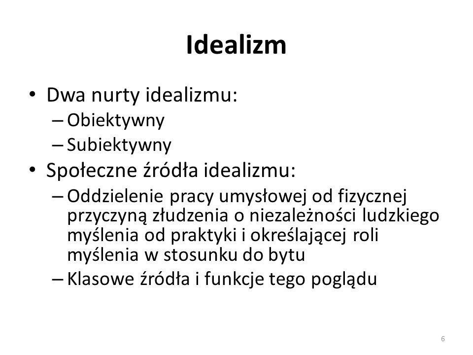 Idealizm Dwa nurty idealizmu: Społeczne źródła idealizmu: Obiektywny