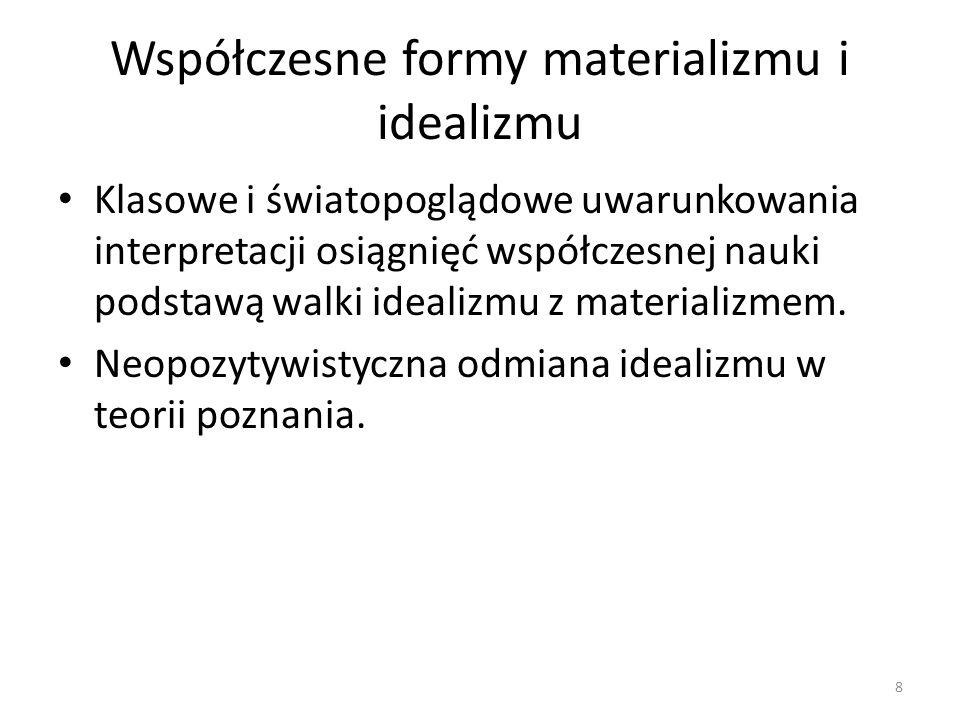 Współczesne formy materializmu i idealizmu