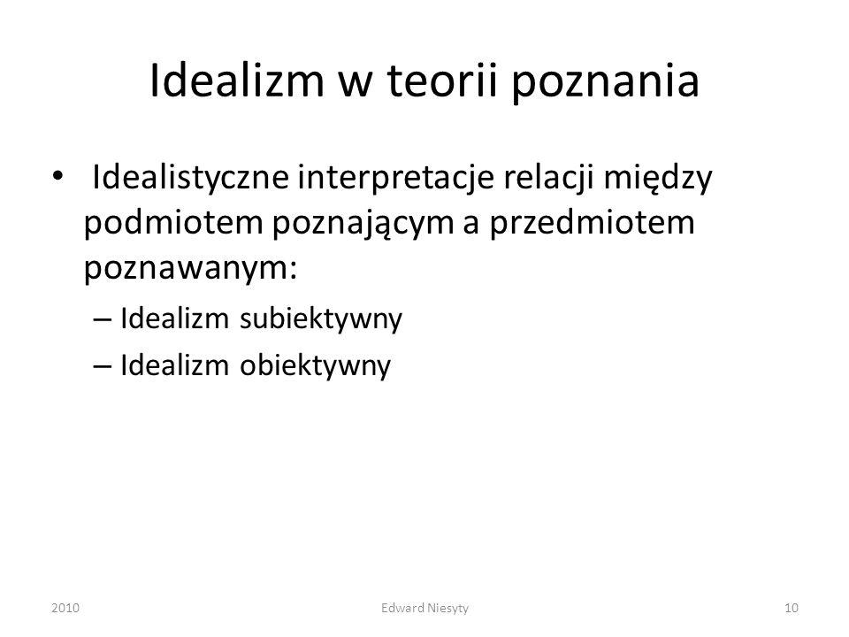 Idealizm w teorii poznania