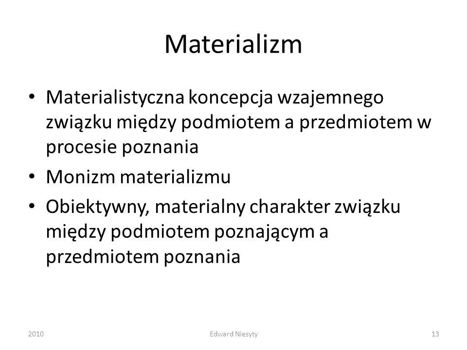 Materializm Materialistyczna koncepcja wzajemnego związku między podmiotem a przedmiotem w procesie poznania.