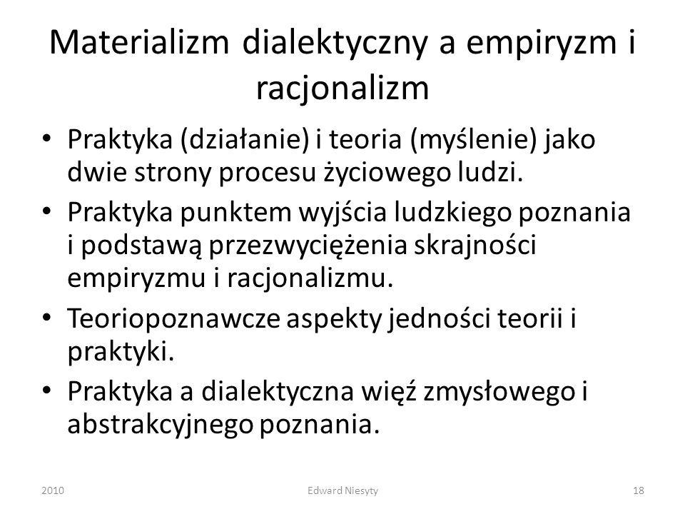 Materializm dialektyczny a empiryzm i racjonalizm