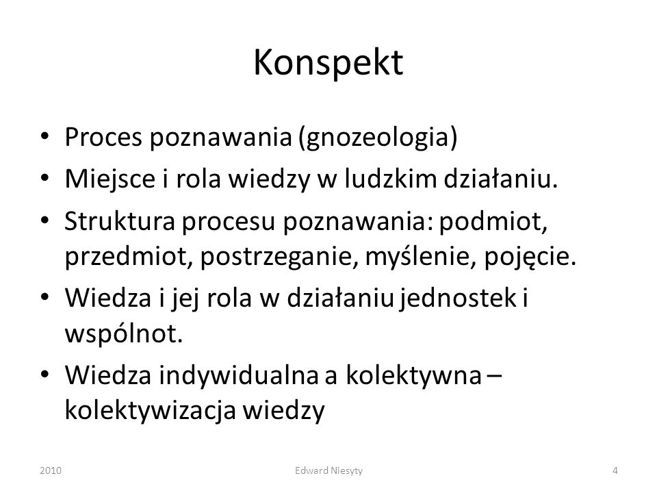 Konspekt Proces poznawania (gnozeologia)