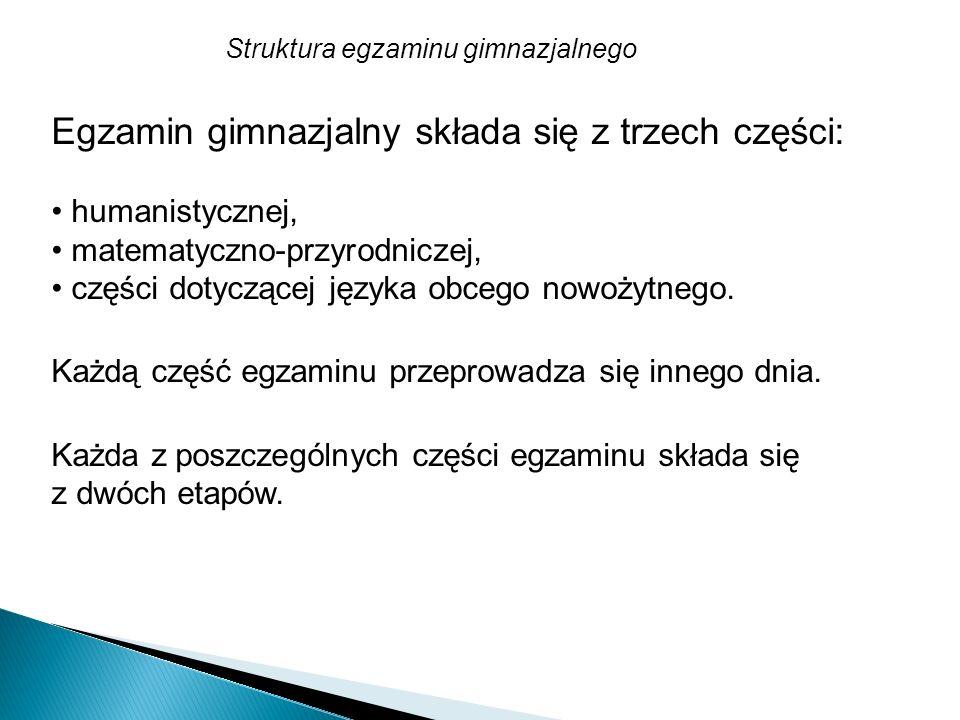 Egzamin gimnazjalny składa się z trzech części: