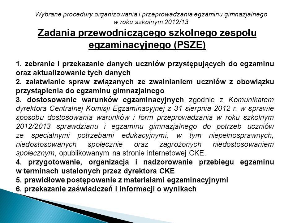 Zadania przewodniczącego szkolnego zespołu egzaminacyjnego (PSZE)