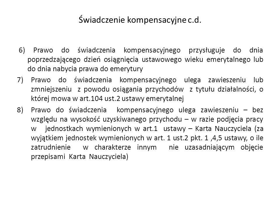 Świadczenie kompensacyjne c.d.