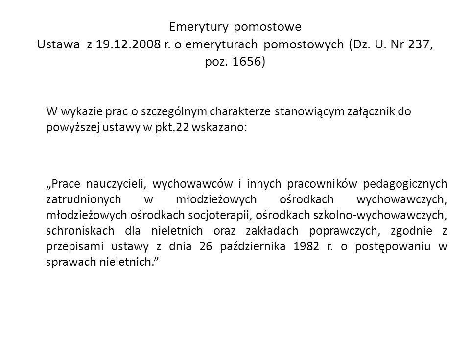 Emerytury pomostowe Ustawa z 19. 12. 2008 r