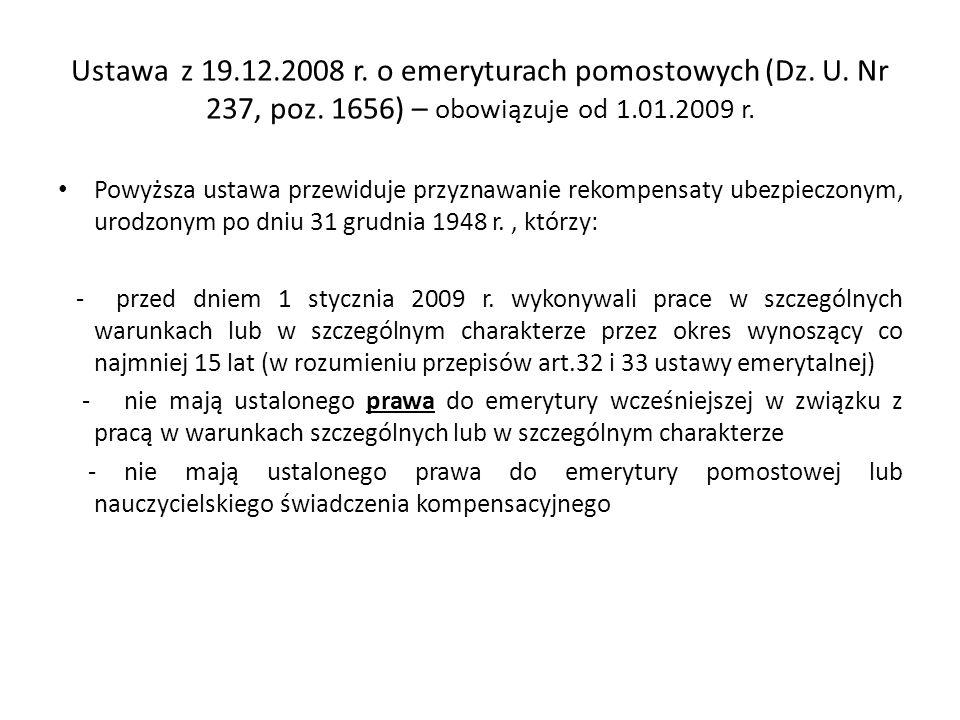 Ustawa z 19. 12. 2008 r. o emeryturach pomostowych (Dz. U. Nr 237, poz