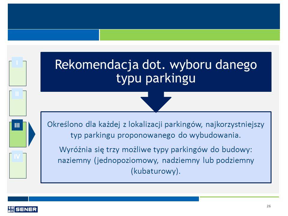 Rekomendacja dot. wyboru danego typu parkingu
