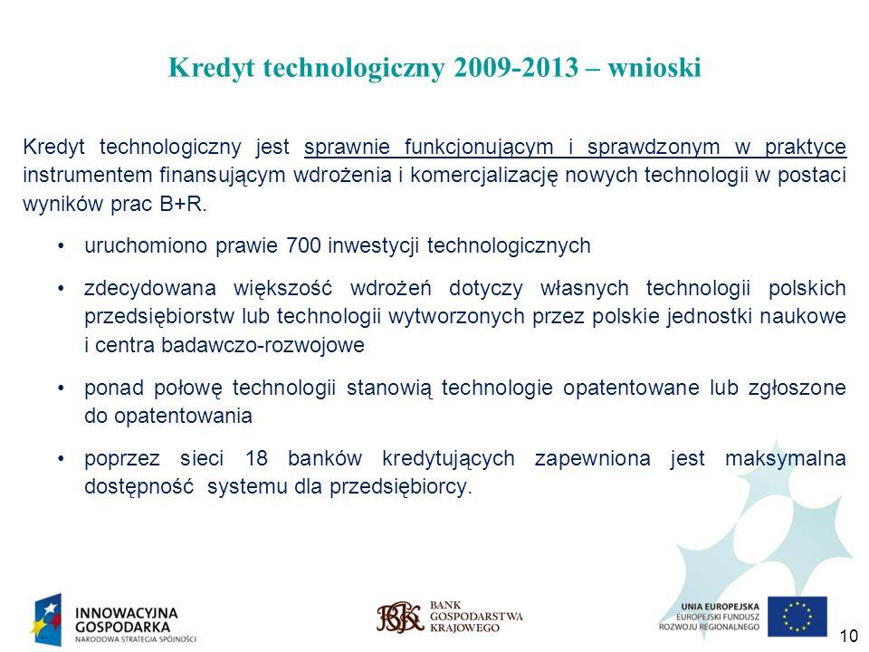 Kredyt technologiczny 2009-2013 – wnioski