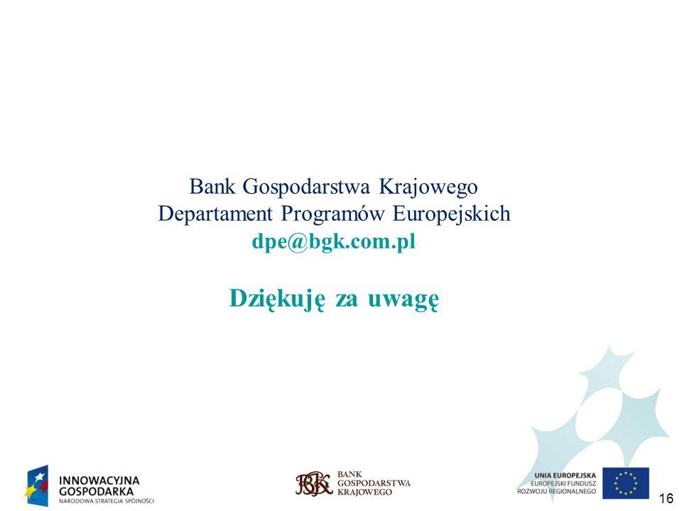 Bank Gospodarstwa Krajowego Departament Programów Europejskich dpe@bgk