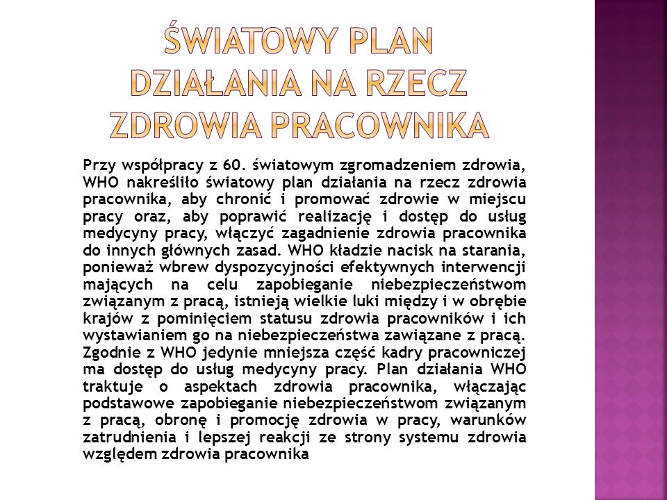 Światowy plan działania na rzecz zdrowia pracownika