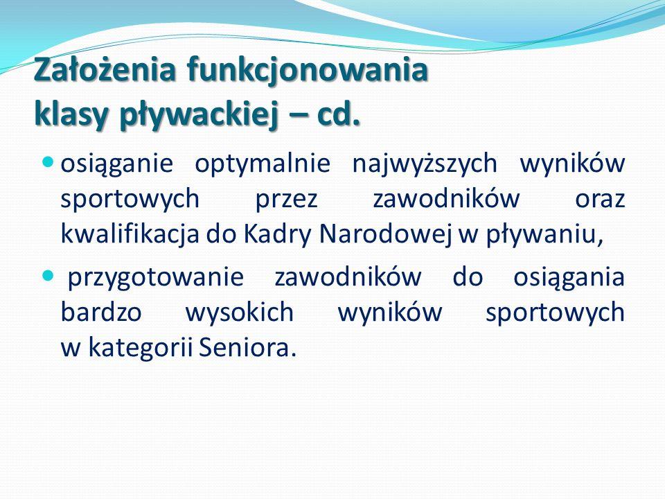 Założenia funkcjonowania klasy pływackiej – cd.