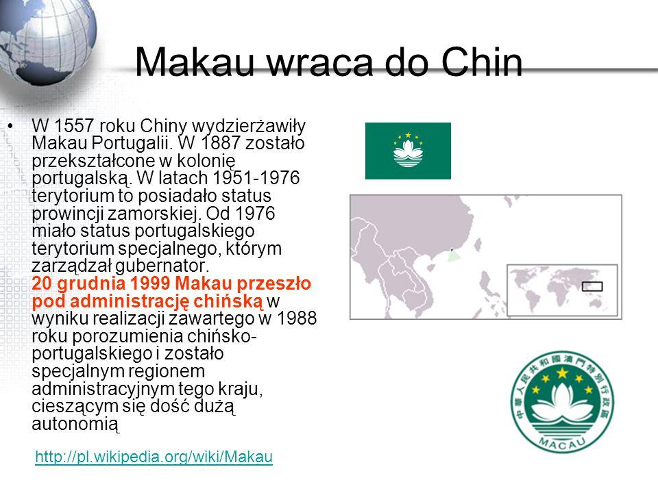Makau wraca do Chin