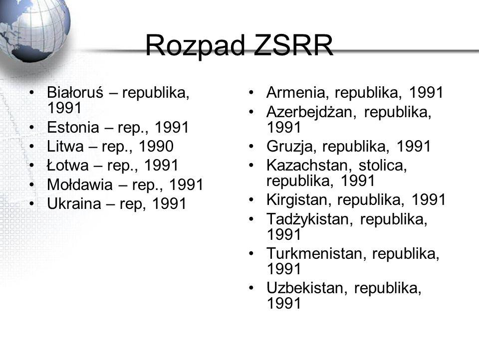 Rozpad ZSRR Białoruś – republika, 1991 Estonia – rep., 1991