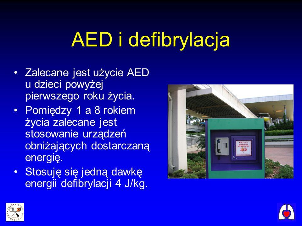 AED i defibrylacja Zalecane jest użycie AED u dzieci powyżej pierwszego roku życia.
