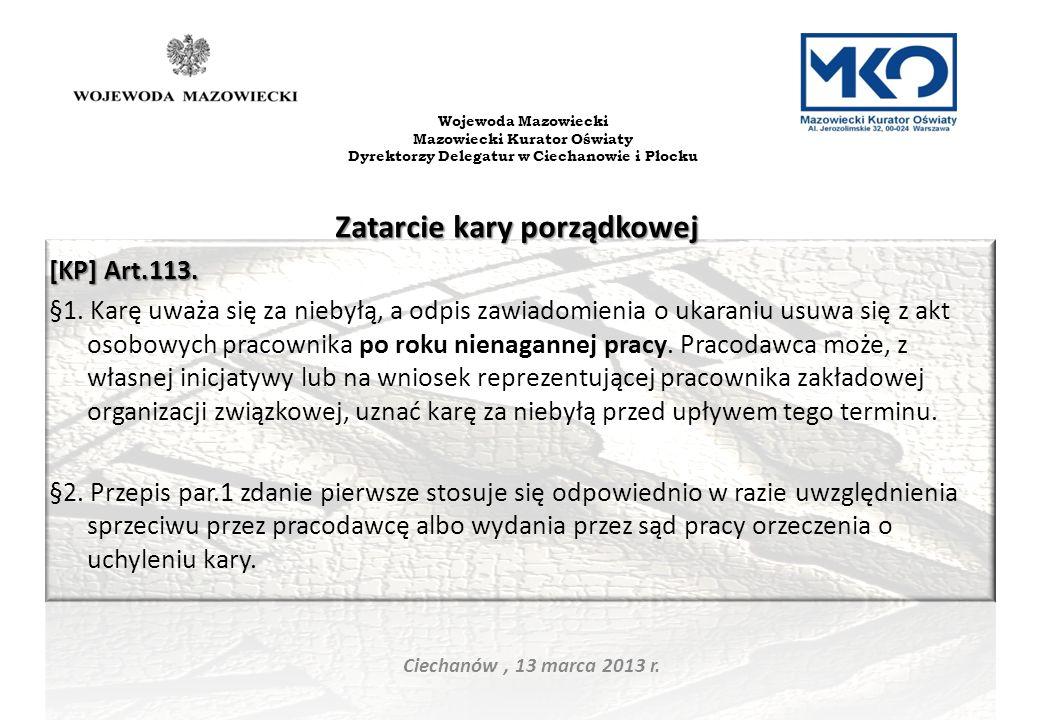 Dyrektorzy Delegatur w Ciechanowie i Płocku Zatarcie kary porządkowej