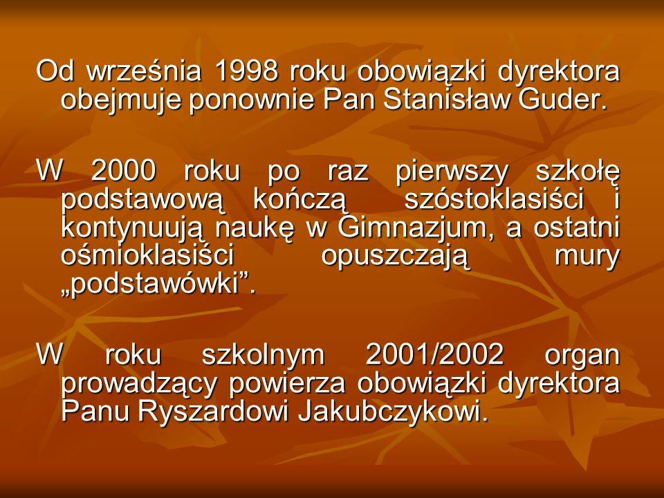 Od września 1998 roku obowiązki dyrektora obejmuje ponownie Pan Stanisław Guder.