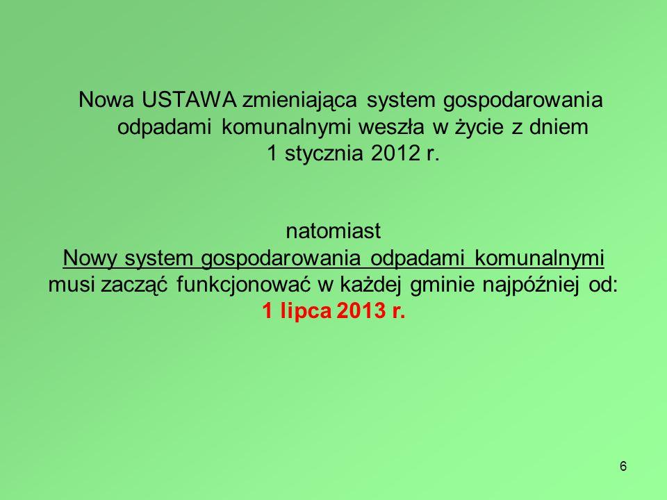 Nowa USTAWA zmieniająca system gospodarowania odpadami komunalnymi weszła w życie z dniem 1 stycznia 2012 r.