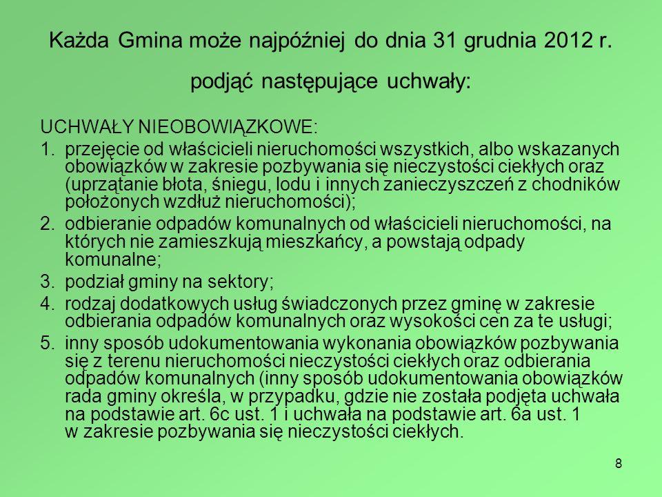 Każda Gmina może najpóźniej do dnia 31 grudnia 2012 r