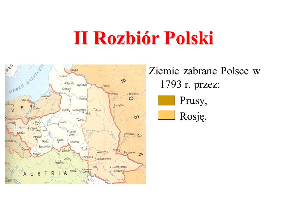 II Rozbiór Polski Ziemie zabrane Polsce w 1793 r. przez: Prusy, Rosję.