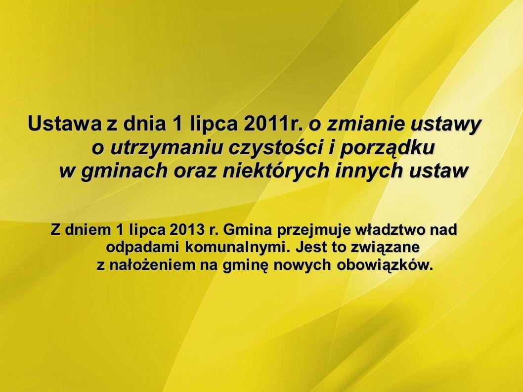 Ustawa z dnia 1 lipca 2011r. o zmianie ustawy o utrzymaniu czystości i porządku w gminach oraz niektórych innych ustaw