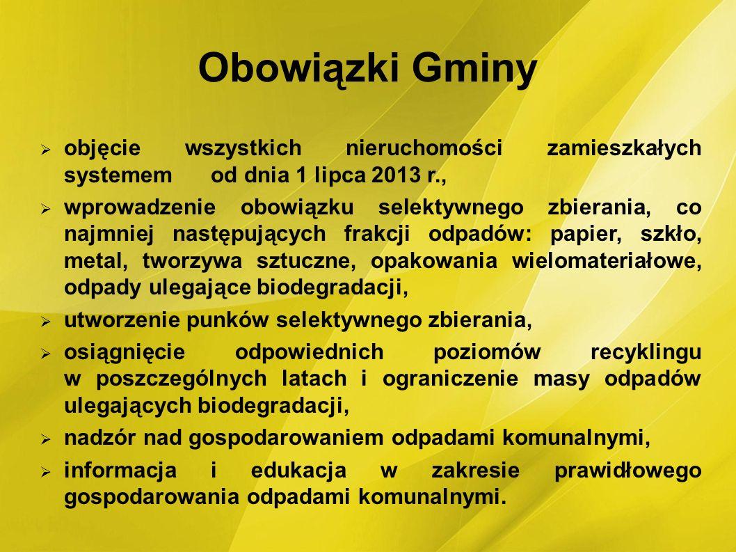 Obowiązki Gminy objęcie wszystkich nieruchomości zamieszkałych systemem od dnia 1 lipca 2013 r.,