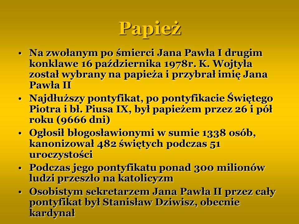 Papież Na zwołanym po śmierci Jana Pawła I drugim konklawe 16 października 1978r. K. Wojtyła został wybrany na papieża i przybrał imię Jana Pawła II.
