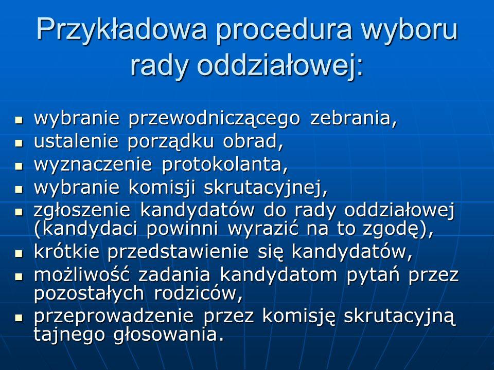 Przykładowa procedura wyboru rady oddziałowej: