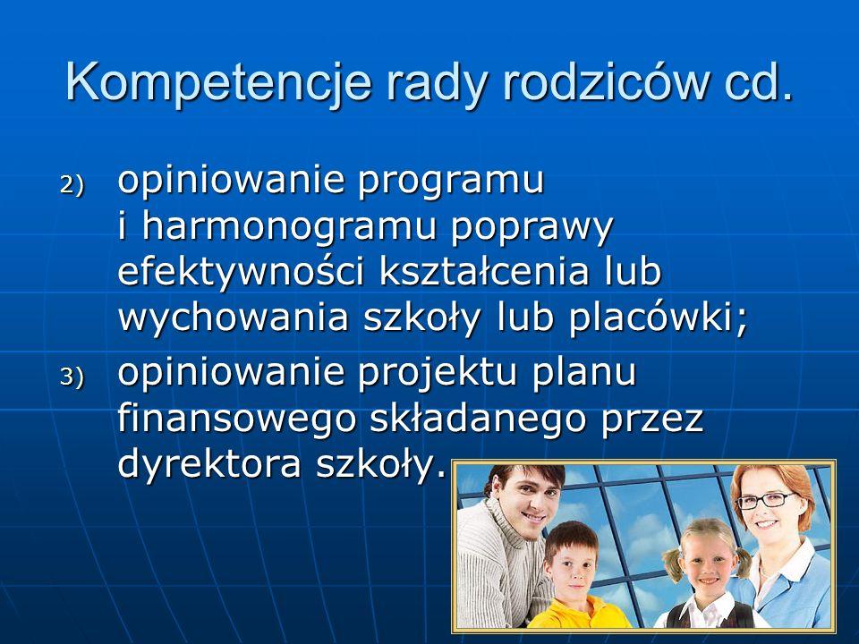 Kompetencje rady rodziców cd.