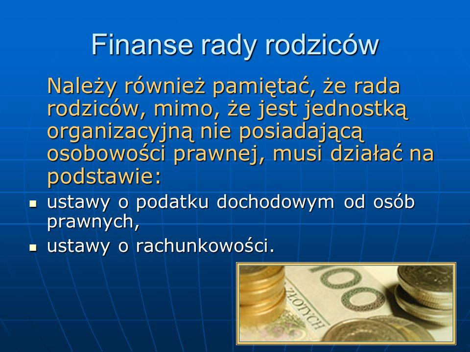 Finanse rady rodziców ustawy o podatku dochodowym od osób prawnych,