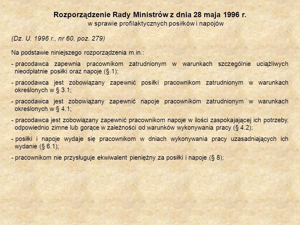 Rozporządzenie Rady Ministrów z dnia 28 maja 1996 r