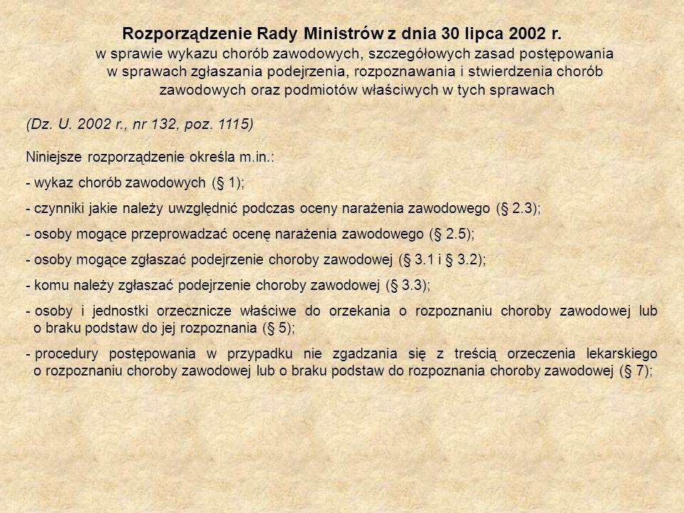 Rozporządzenie Rady Ministrów z dnia 30 lipca 2002 r