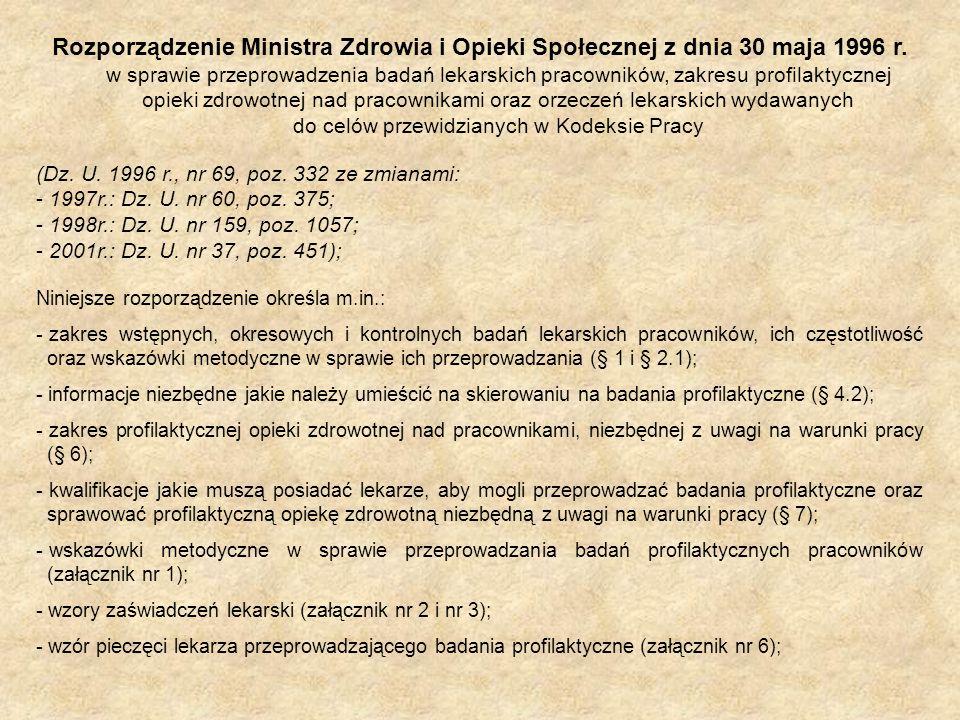 Rozporządzenie Ministra Zdrowia i Opieki Społecznej z dnia 30 maja 1996 r. w sprawie przeprowadzenia badań lekarskich pracowników, zakresu profilaktycznej opieki zdrowotnej nad pracownikami oraz orzeczeń lekarskich wydawanych do celów przewidzianych w Kodeksie Pracy