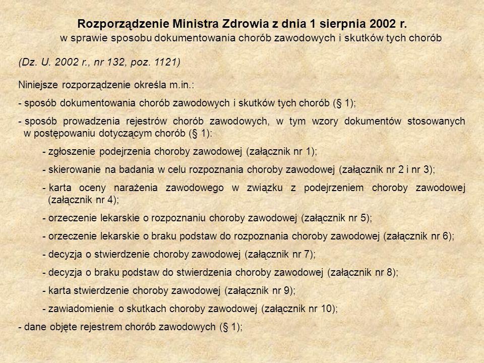 Rozporządzenie Ministra Zdrowia z dnia 1 sierpnia 2002 r