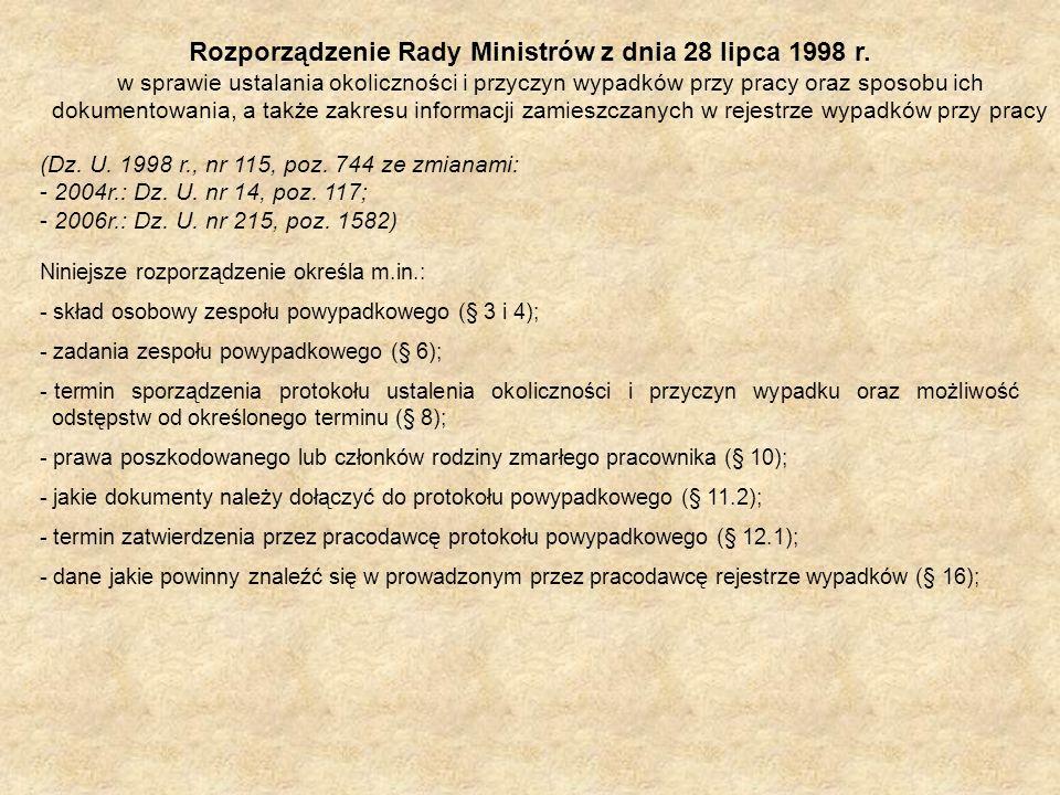 Rozporządzenie Rady Ministrów z dnia 28 lipca 1998 r