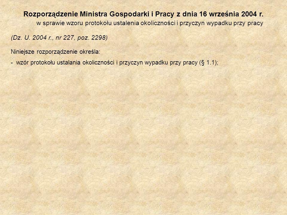 Rozporządzenie Ministra Gospodarki i Pracy z dnia 16 września 2004 r