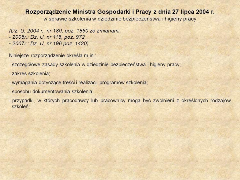 Rozporządzenie Ministra Gospodarki i Pracy z dnia 27 lipca 2004 r